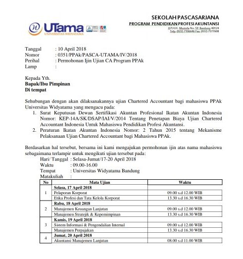 Download Surat Izin Mengikuti Ujian Chartered Accountan PPAK April 2018